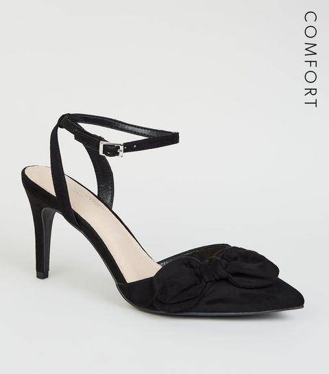 35f2125f73d ... Black Comfort Flex Suedette Bow Front Heels ...