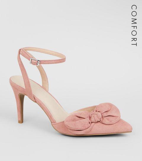 f8e4c4d3af6 ... Pink Comfort Flex Suedette Bow Front Heels ...