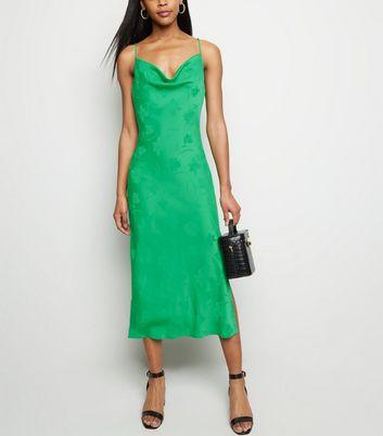 Green Floral Satin Cowl Neck Midi Dress New Look