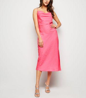 Bright Pink Zebra Satin Cowl Neck Midi Dress New Look
