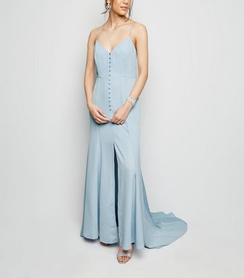 Pale Blue Button Front Maxi Dress