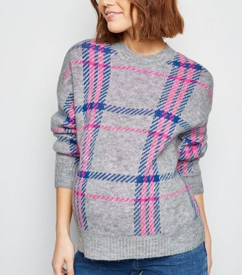 Maternity Grey Neon Check Jumper