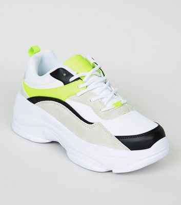 Girls Black Neon Colour Block Chunky Trainers