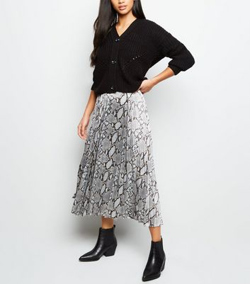 Petite Grey Snake Print Satin Pleated Midi Skirt