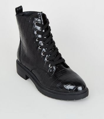 Wide Fit Black Faux Croc Lace Up Boots