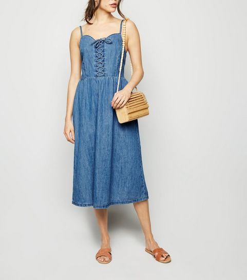 9d8101d53d3 ... Blue Denim Lace Up Front Midi Dress ...