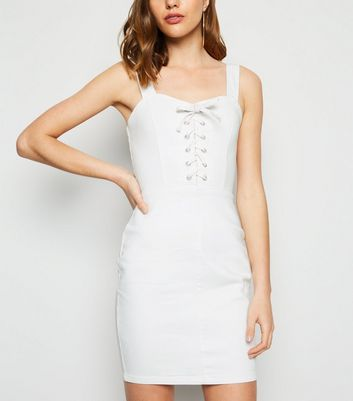 White Lace Up Denim Bodycon Dress