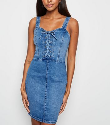 Blue Lace Up Denim Bodycon Dress