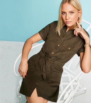 Khaki Lightweight Denim Utility Dress