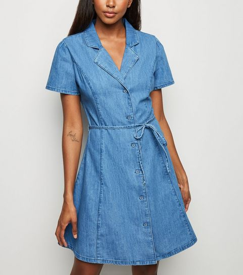 79108b9d90 ... Pale Blue Denim Tie Waist Tea Dress ...