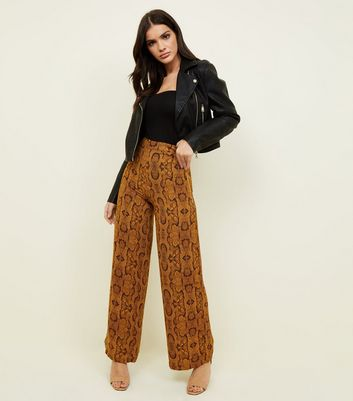 Innocence Brown Snake Print Wide Leg Trousers