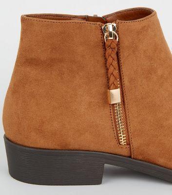 Tan Suedette Plait Zip Flat Ankle Boots