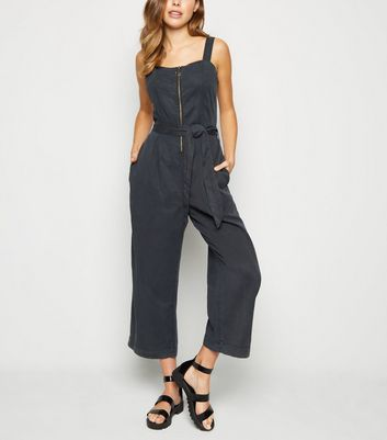 Black Ring Zip Lightweight Jumpsuit
