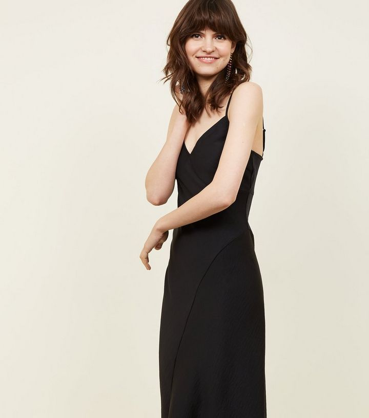 slip midi dress in black (no split & adjustable straps)