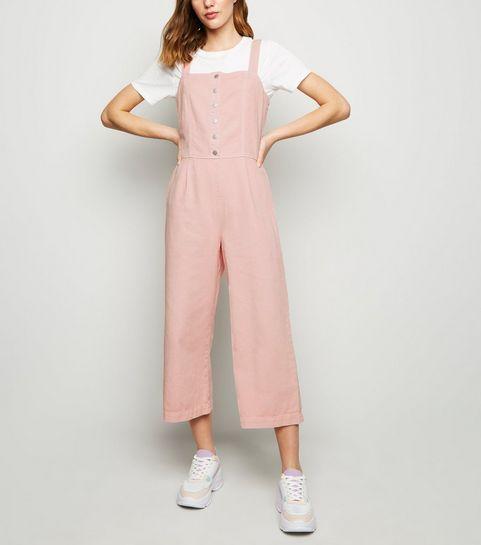 fe38874d8ae8 ... Pink Popper Front Denim Jumpsuit ...