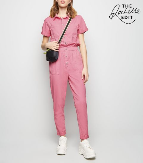 457b60dc27c ... Bright Pink Pocket Front Tapered Leg Jumpsuit ...