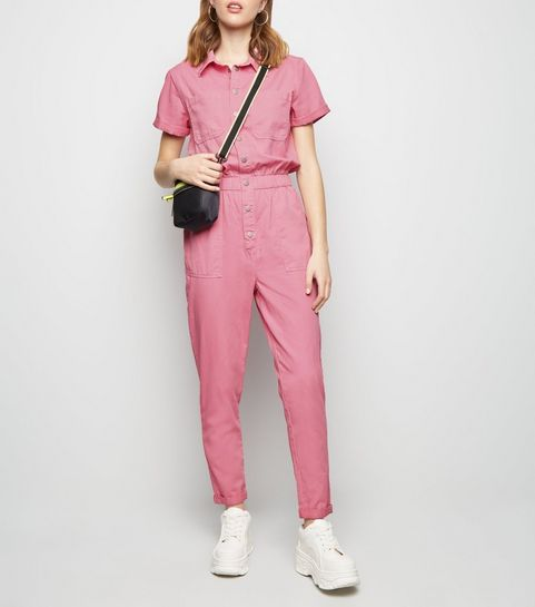 76f2a78a07ba ... Bright Pink Pocket Front Tapered Leg Jumpsuit ...