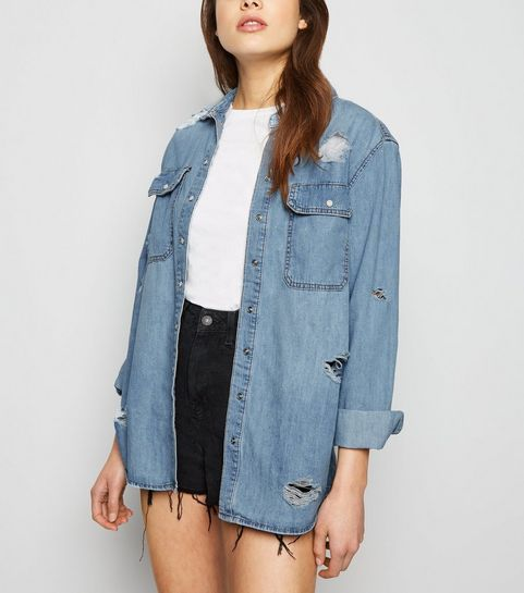 120cac20611 ... Blue Oversized Distressed Denim Shirt ...