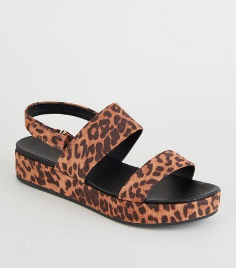 6499a3e806ac ... Stone Suedette Leopard Print Flatform Sandals ...