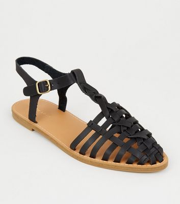 Black Leather-Look Cage Front Sandals
