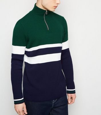 Green Colour Block 1/2 Zip Ribbed Jumper