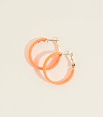 Bright Orange Neon Ribbon Wrap Midi Hoop Earrings