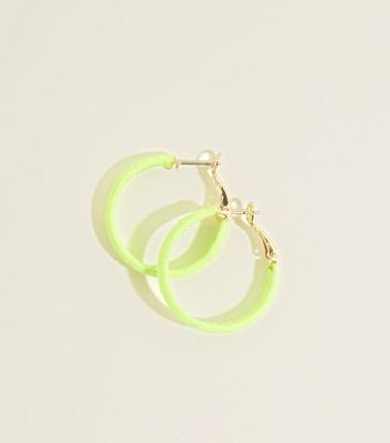 Yellow Neon Ribbon Wrap Midi Hoop Earrings