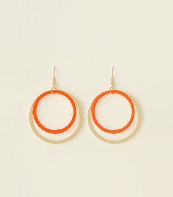 Bright Orange Neon Ribbon Wrap Double Hoop Earrings