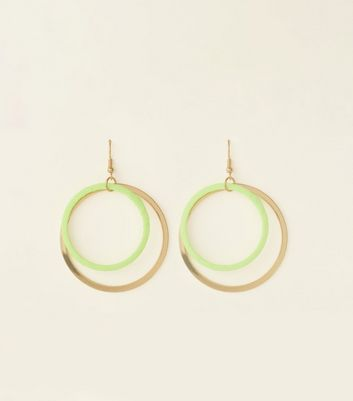 Yellow Neon Ribbon Wrap Double Hoop Earrings