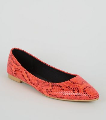 Orange Neon Faux Snake Ballet Pumps