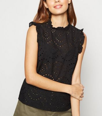 Black Broderie Frill Trim Blouse