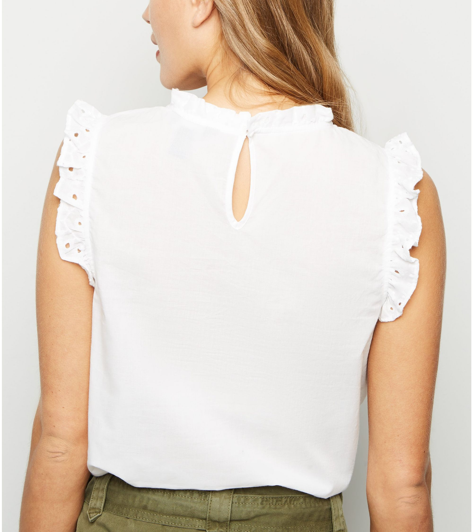 0b052346ca3870 New Look cutwork frill trim blouse at £15.99