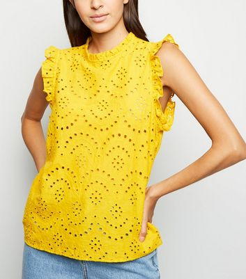 Yellow Cutwork Frill Trim Blouse
