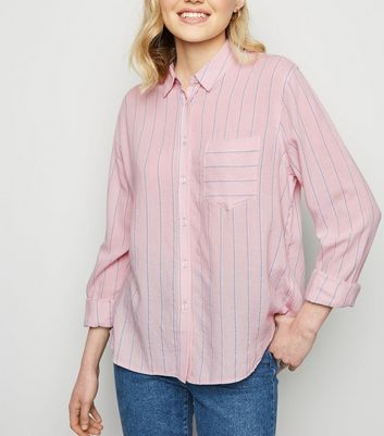 Pink Stripe Pocket Front Shirt