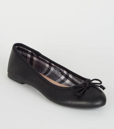 3ad9ede56ff ... Black Leather-Look Check Lined Ballet Pumps ...