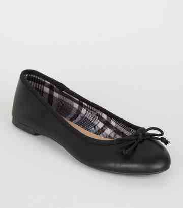 Black Leather-Look Check Lined Ballet Pumps