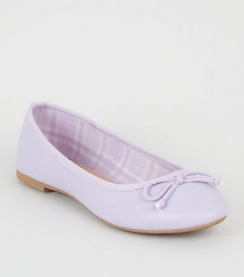 Lilac Leather-look Ballet Pumps