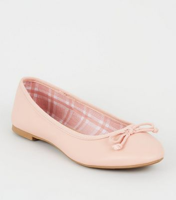 Pink Leather-look Ballet Pumps