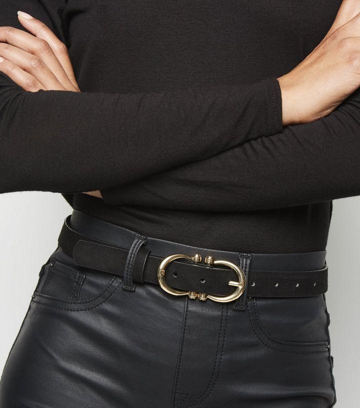 2275898e88b8c Black Suedette Double D Buckle Belt | New Look