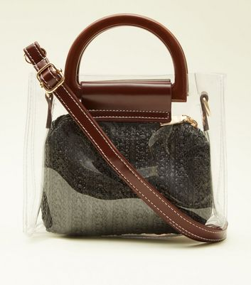 Black Straw Pouch Mini Tote Bag
