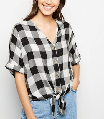 Black Gingham Tie Front Short Sleeve Shirt
