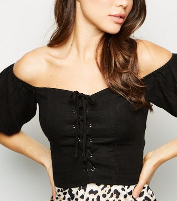 Black Shirred Back Lace Up Milkmaid Top