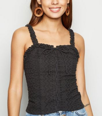 Black Broderie Lace Up Cami