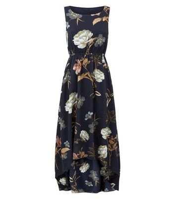 shop for Blue Vanilla Navy Floral Dip Hem Dress New Look at Shopo