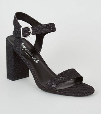 Black Glitter 2 Part Block Heels   New Look
