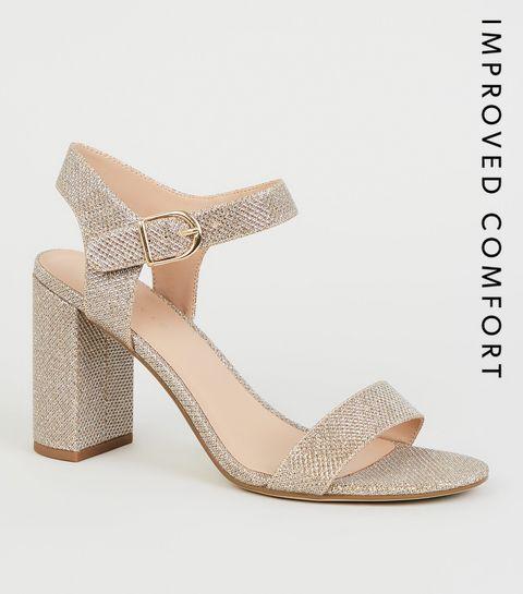72cf03e7964 ... Gold Glitter 2 Part Block Heels ...