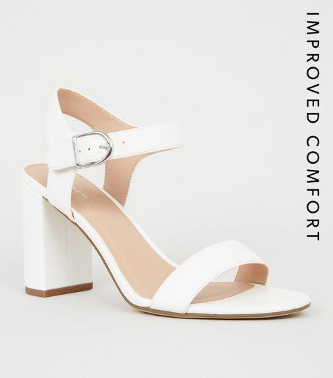 e9bca091753 ... White Leather-Look 2 Part Block Heels ...
