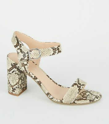 Stone Faux Snake 2 Part Block Heels
