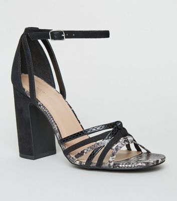 Black Faux Snake Strappy Block Heels