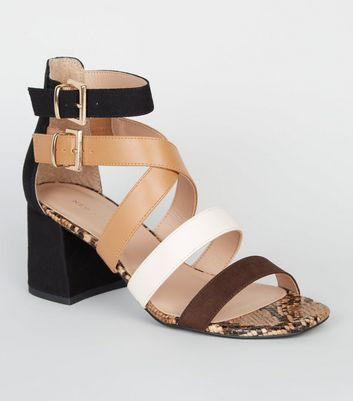 Brown Colour Block Faux Snake Strappy Heels
